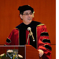 Professor Rappa delivering commencement address