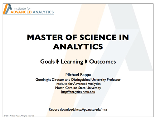 Master of Science in Analytics: An Overview